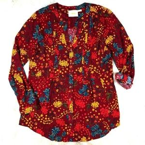 Anthro Maeve Red Floral Button Front Blouse Top